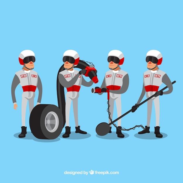 Ręcznie Rysowane Pracowników Pit Stopu Formuły 1 Darmowych Wektorów