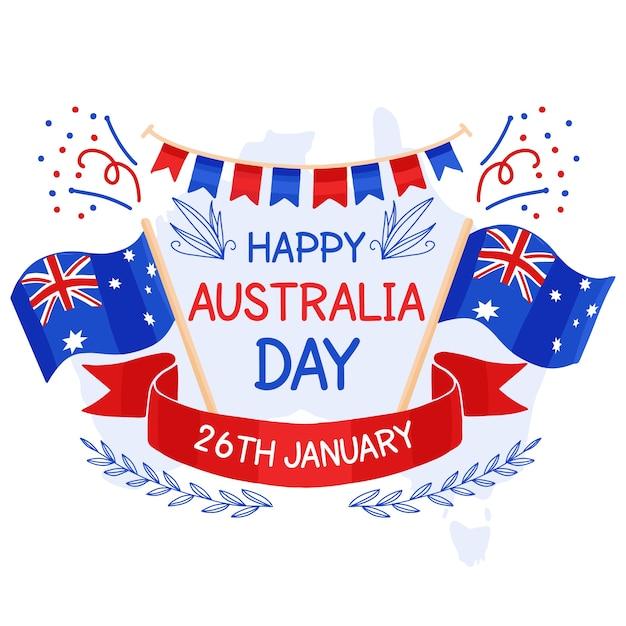 Ręcznie Rysowane Projekt Australia Dzień Zdarzenia Darmowych Wektorów