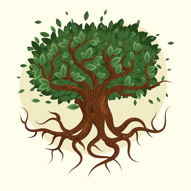 Ręcznie Rysowane Projekt Drzewo życia Darmowych Wektorów