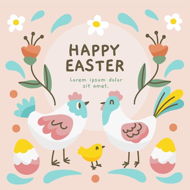 Ręcznie Rysowane Projekt Na Szczęśliwy Dzień Wielkanocy Darmowych Wektorów