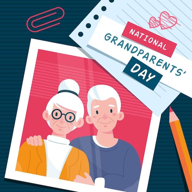 Ręcznie Rysowane Projekt Narodowego Dnia Dziadków Premium Wektorów
