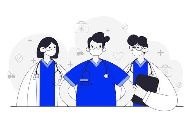 Ręcznie Rysowane Projekt Pracowników Służby Zdrowia Darmowych Wektorów