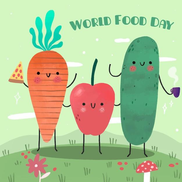 Ręcznie Rysowane Projekt światowego Dnia żywności Darmowych Wektorów