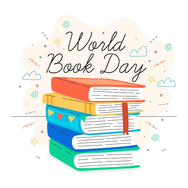 Ręcznie Rysowane Projekt światowy Dzień Książki Darmowych Wektorów