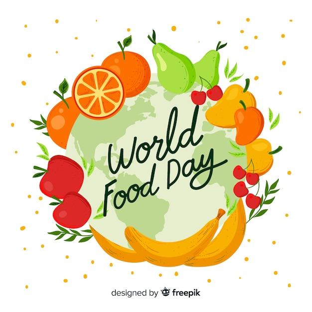 Ręcznie Rysowane Projekt światowy Dzień żywności Darmowych Wektorów