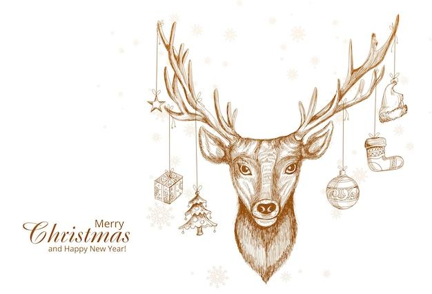 Ręcznie Rysowane Projekt Szkic Jelenia Boże Narodzenie Darmowych Wektorów