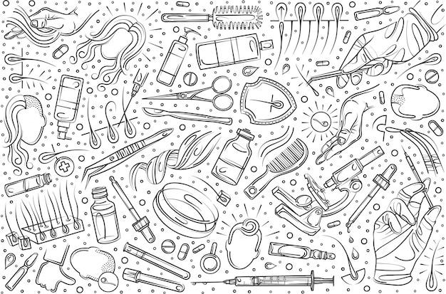 Ręcznie Rysowane Przeszczep Włosów Zestaw Doodle Tło Premium Wektorów