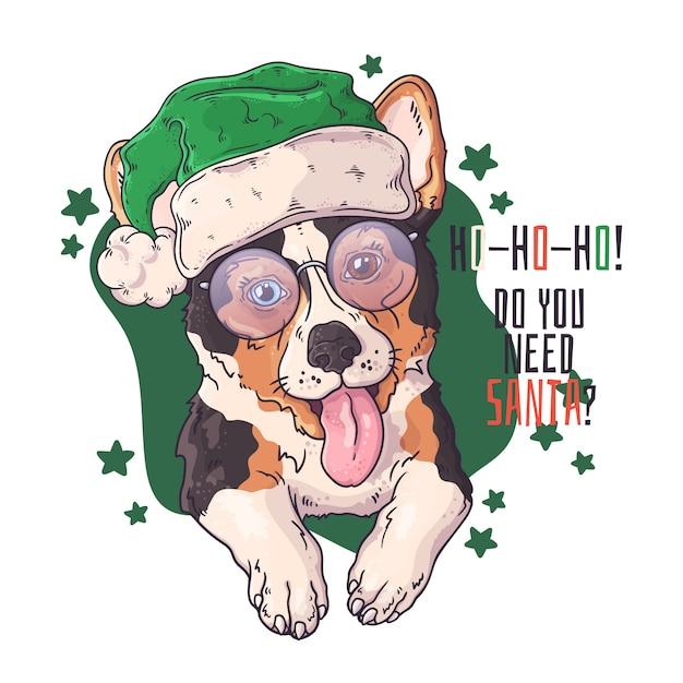 Ręcznie rysowane psa corgi w akcesoria świąteczne Premium Wektorów