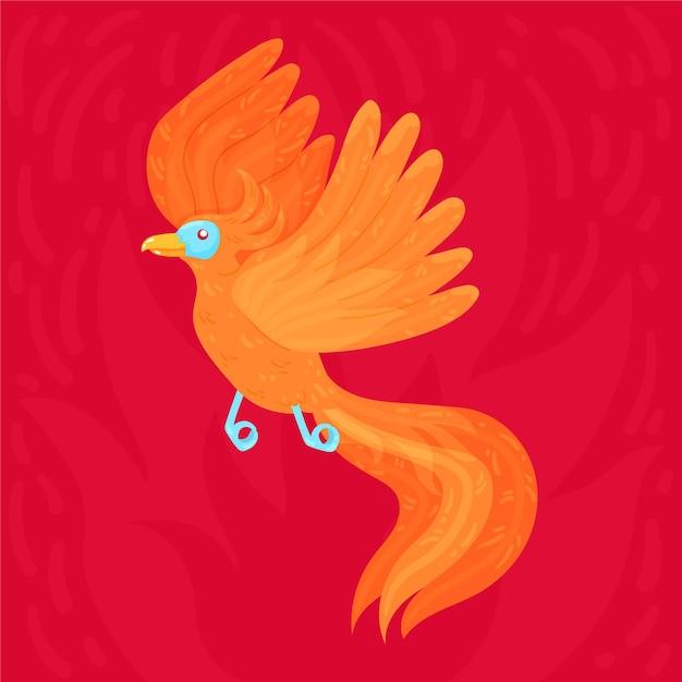Ręcznie Rysowane Ptak Feniks Darmowych Wektorów