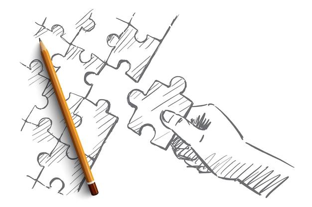 Ręcznie Rysowane Puzzle Ręcznie Szkic Koncepcji Premium Wektorów