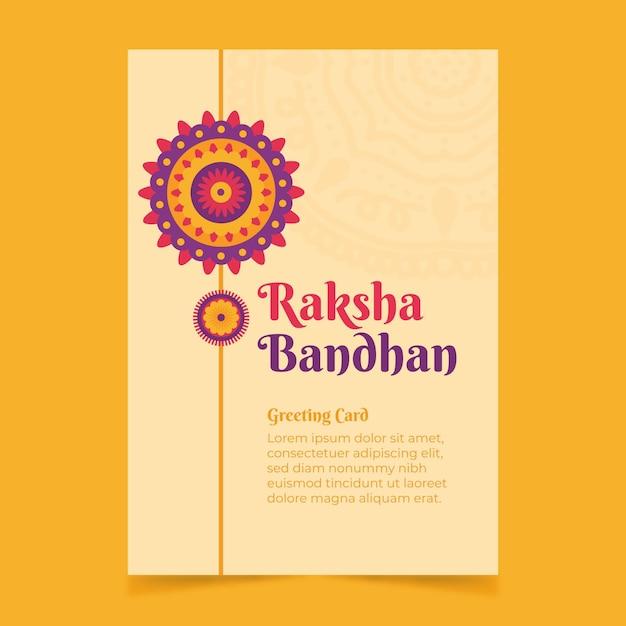 Ręcznie Rysowane Raksha Bandhan Kartkę Z życzeniami Darmowych Wektorów