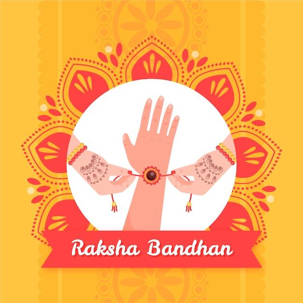 Ręcznie Rysowane Raksha Bandhan Darmowych Wektorów