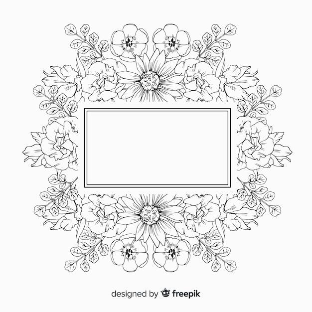 Ręcznie Rysowane Ramki Z Kwiatowy Wzór Na Białym Tle Darmowych Wektorów
