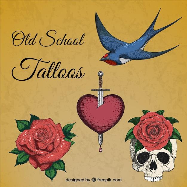 Ręcznie rysowane realistyczne tatuaże Darmowych Wektorów