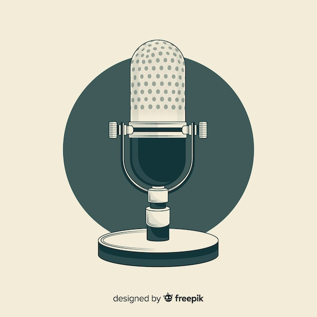 Ręcznie rysowane realistyczny mikrofon retro Darmowych Wektorów