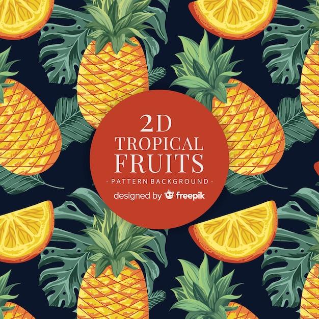 Ręcznie rysowane realistyczny wzór owoców tropikalnych Darmowych Wektorów