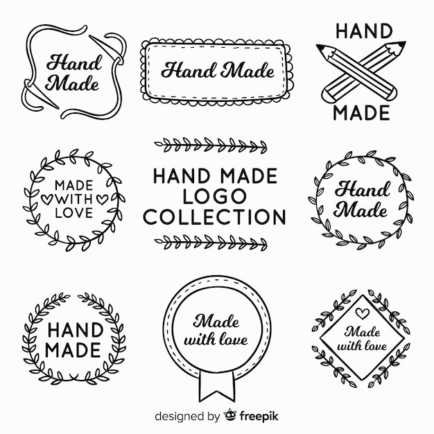 Ręcznie rysowane ręcznie wykonane logo Darmowych Wektorów