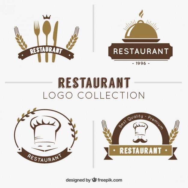 Ręcznie Rysowane Restauracja Logo Kolekcji Darmowych Wektorów