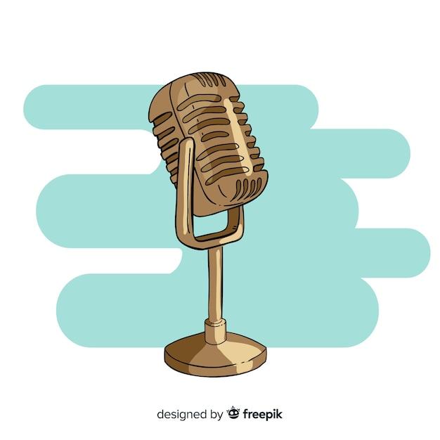 Ręcznie rysowane retro mikrofon Darmowych Wektorów