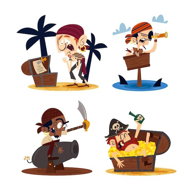 Ręcznie Rysowane Retro Postaci Z Kreskówek Z Piratami Darmowych Wektorów