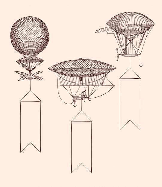 Ręcznie rysowane rocznika balony z wiszącymi szerokimi wstążkami Premium Wektorów