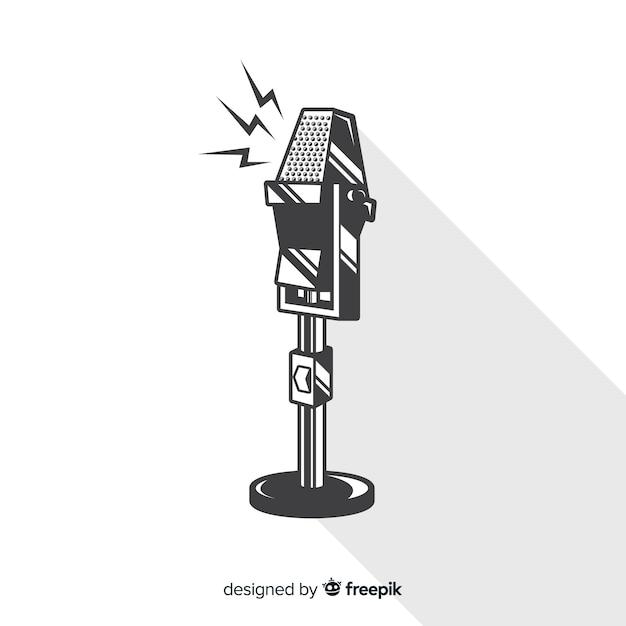 Ręcznie rysowane rocznika mikrofon Darmowych Wektorów