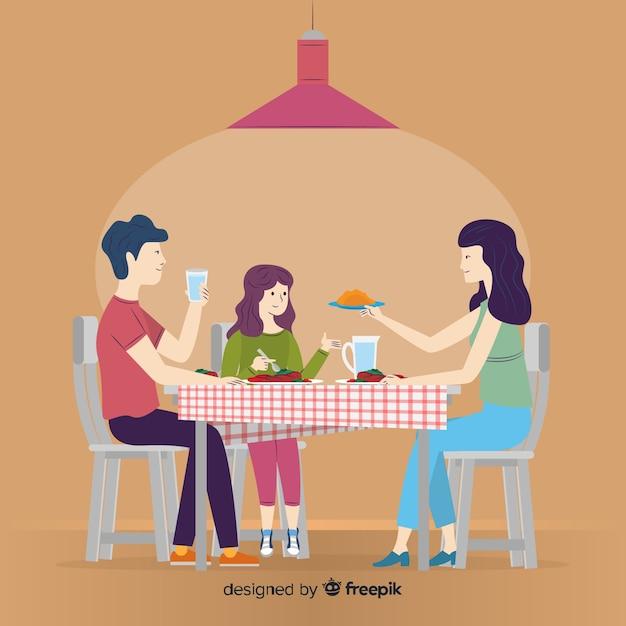 Ręcznie Rysowane Rodziny Siedzi Przy Stole Darmowych Wektorów