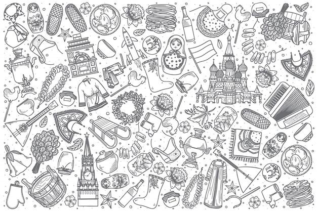 Ręcznie Rysowane Rosja Doodle Zestaw Premium Wektorów