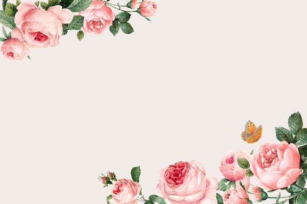 Ręcznie rysowane różowe róże ramki na beżowym tle wektor Darmowych Wektorów