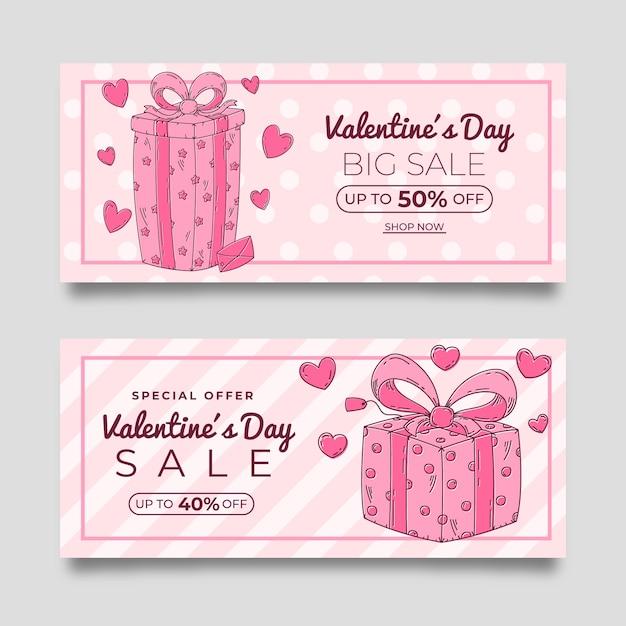 Ręcznie Rysowane Różowe Walentynki Sprzedaż Banery Darmowych Wektorów
