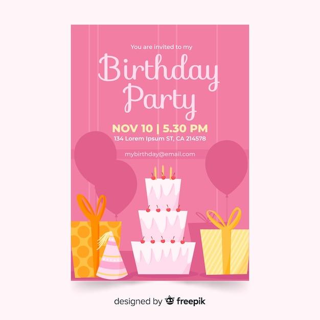 Ręcznie Rysowane Różowy Szablon Zaproszenia Urodzinowe Darmowych Wektorów
