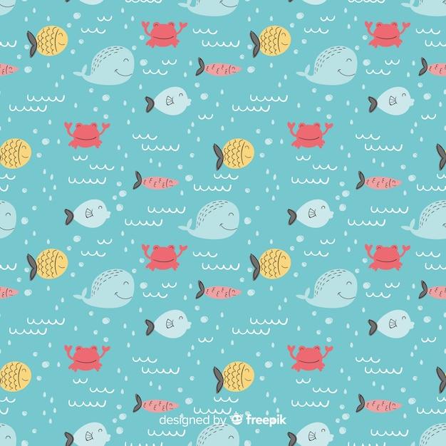 Ręcznie rysowane ryby doodle wzór Darmowych Wektorów