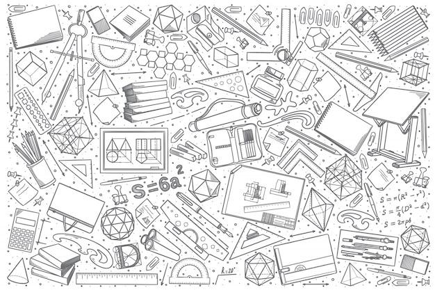Ręcznie Rysowane Rysunek Doodle Zestaw Premium Wektorów