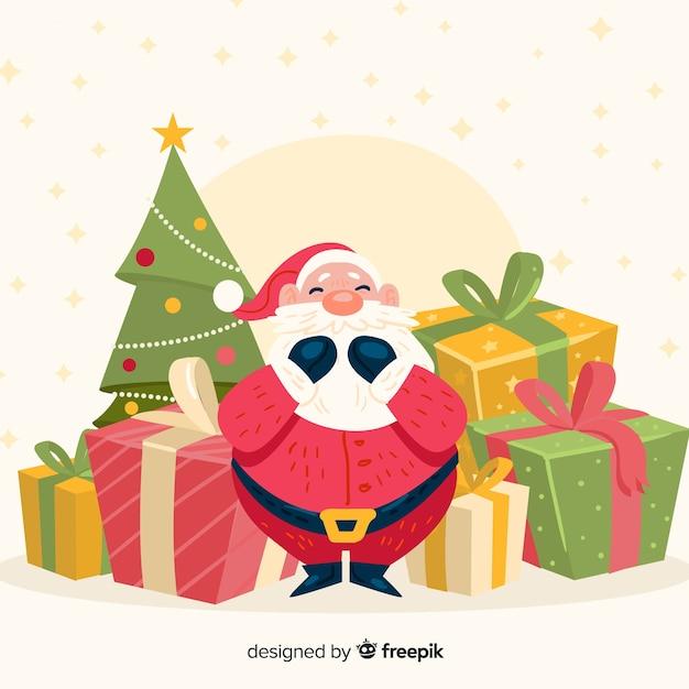 Ręcznie rysowane santa prezenty świąteczne tło Darmowych Wektorów