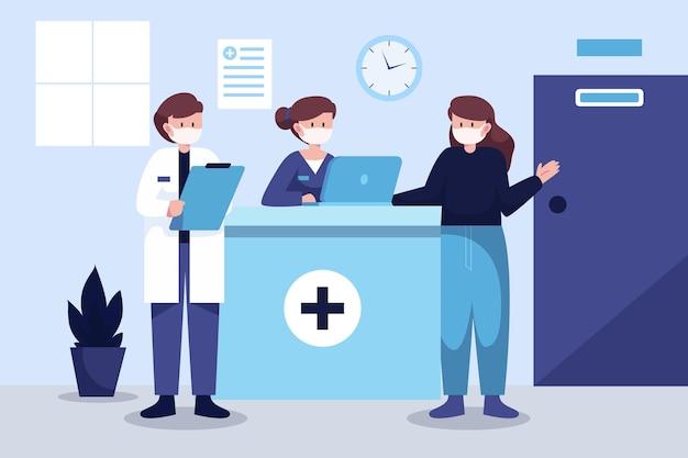 Ręcznie Rysowane Sceny Recepcji Szpitala Darmowych Wektorów