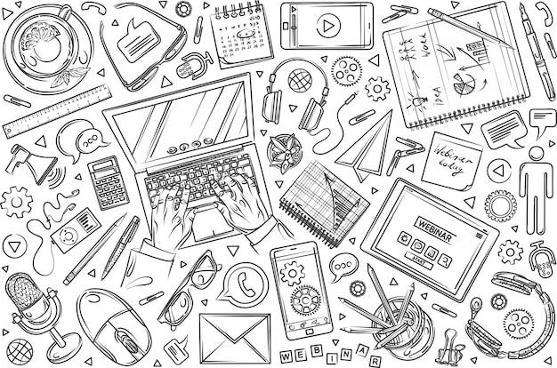 Ręcznie rysowane seminarium zestaw doodle tło Premium Wektorów