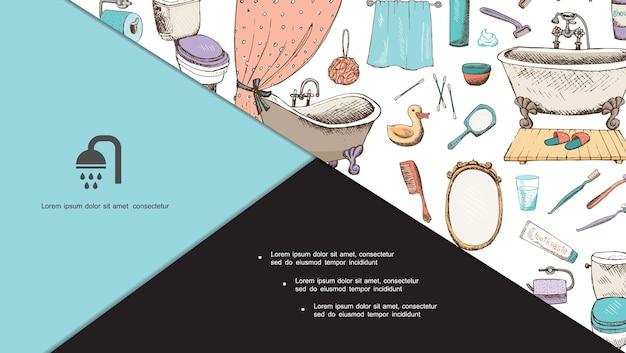 Ręcznie Rysowane Skład Higieny Osobistej Darmowych Wektorów