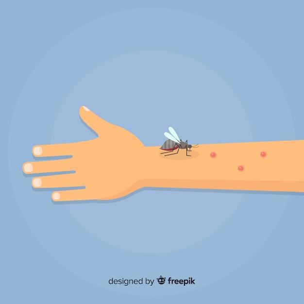 Ręcznie rysowane skład komara gryzie Darmowych Wektorów