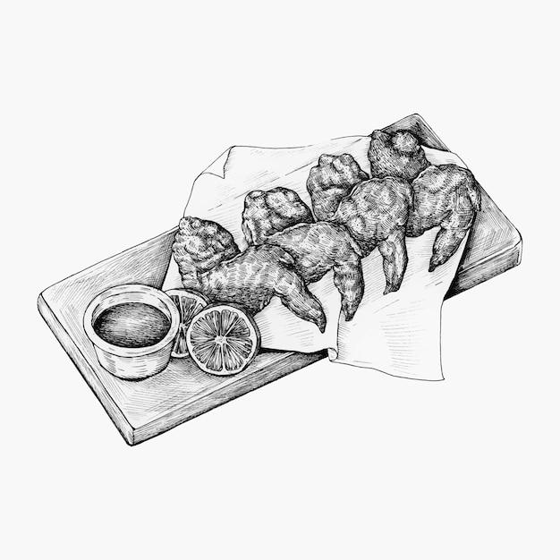 Ręcznie rysowane skrzydełka z kurczaka Premium Wektorów