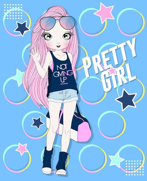 Ręcznie rysowane słodkie dziewczyny fitness z kolorowy design Premium Wektorów