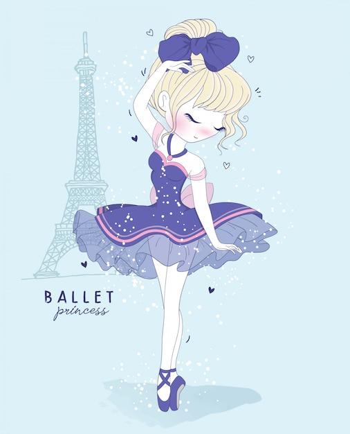 Ręcznie rysowane słodkie dziewczyny taniec baletowy ze sceną paryża Premium Wektorów