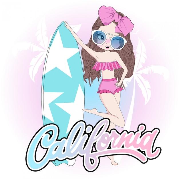 Ręcznie Rysowane Słodkie Dziewczyny Z Deską Surfingową Premium Wektorów