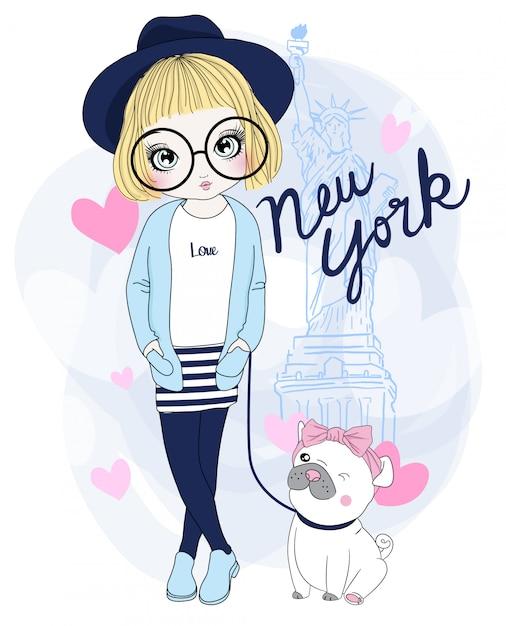 Ręcznie rysowane słodkie dziewczyny z mops Premium Wektorów