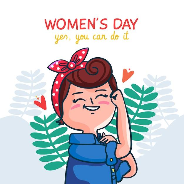 Ręcznie Rysowane Słodkie Ilustracja Na Dzień Kobiet Darmowych Wektorów
