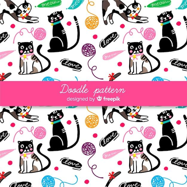 Ręcznie rysowane słowa i koty wzór Darmowych Wektorów