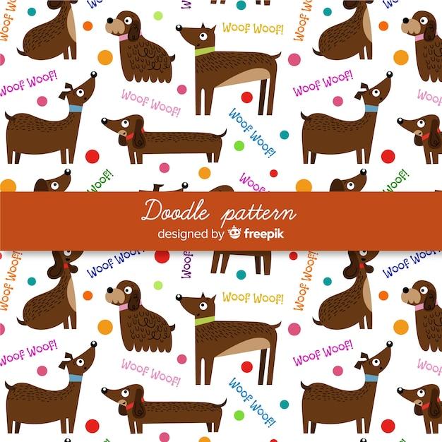 Ręcznie rysowane słowa i wzór psów Darmowych Wektorów
