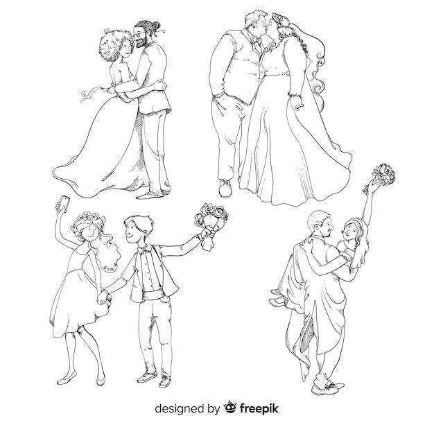 Ręcznie rysowane ślub para kolekcji Darmowych Wektorów