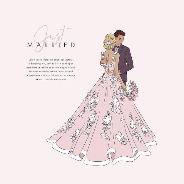 Ręcznie Rysowane ślub Para Tło Premium Wektorów