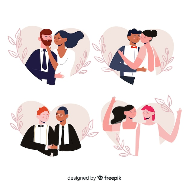 Ręcznie Rysowane ślub Para Zestaw Darmowych Wektorów