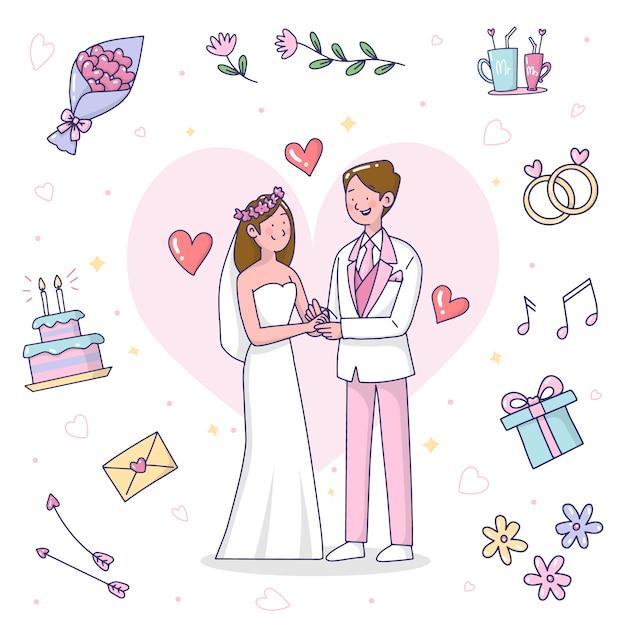 Ręcznie Rysowane ślub Pary Ilustracji Darmowych Wektorów